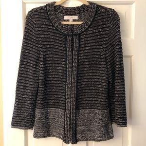 LOFT Black/Grey Marled Knit Cardigan